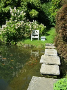 The spot where Churchill would sit to contemplate and feed his fish